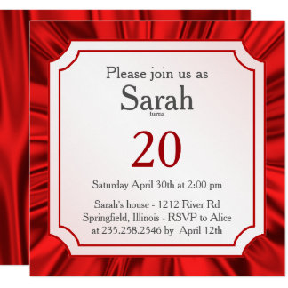 Personalize:   Any Occasion, Faux Red Satin Look Card