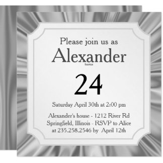 Personalize:  Any Occasion, Faux Silver Gray Satin Card
