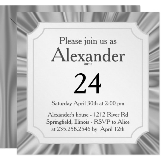 Personalize:  Any Occasion, Faux Silver Grey Satin Card