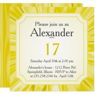 Personalize:   Any Occasion, Faux Yellow Satin Card