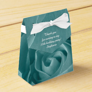 Personalize: Aqua Rose, Floral Nature Photography Favor Box