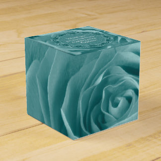 Personalize:  Aqua Rose Floral Photography Favor Box