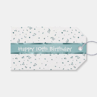Personalize: Aqua Textured Fabric Look Birthday Pack Of Gift Tags