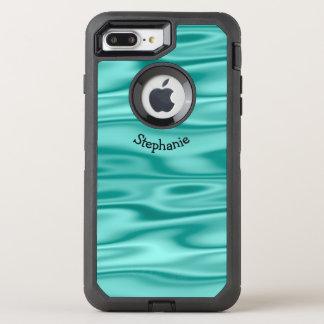 Personalize Arched Name - Faux Aqua Satin Fabric OtterBox Defender iPhone 8 Plus/7 Plus Case