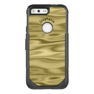 Personalize Arched Name - Faux Gold Satin Fabric OtterBox Commuter Google Pixel Case