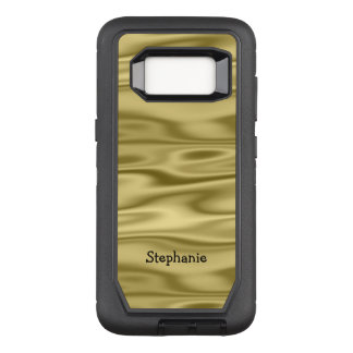 Personalize Arched Name - Faux Gold Satin Fabric OtterBox Defender Samsung Galaxy S8 Case