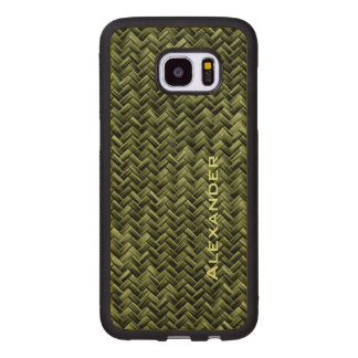 Personalize:  Army Green Faux Basket Weave Pattern Wood Samsung Galaxy S7 Edge Case