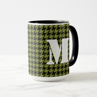 Personalize: Army Green Houndstooth Pattern Mug