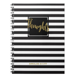 "Personalize B&W Stripes Gold ""Thoughts"" Gift Spiral Notebook"