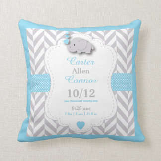 Personalize - Baby Blue,Gray and White Elephant Throw Pillow