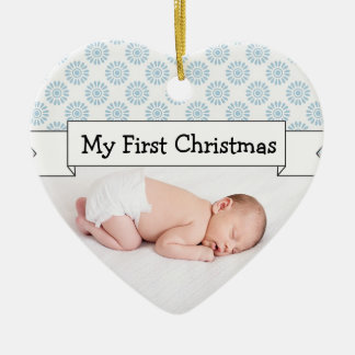 Personalize Baby Boy Photo Blue Christmas Ornament