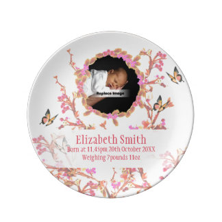 Personalize Baby Girl Pink White Flowers Keepsake Plate