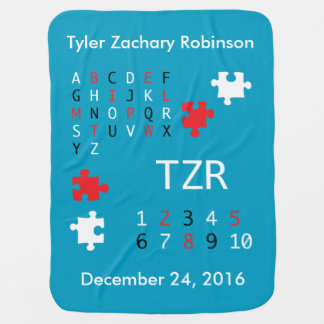 Personalize Baby High Contrast Letters and Numbers Receiving Blanket