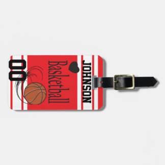 Personalize Basketball Red and White Luggage Tag