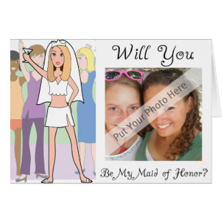 Personalize Be My Maid of Honor Photo Invitation Greeting Card