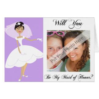 Personalize Be My Maid of Honour Photo Invitation Greeting Card