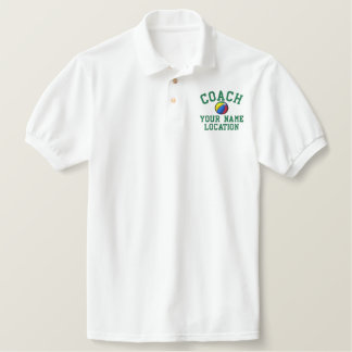 Personalize Beach Ball Coach Your Name Your Game! Embroidered Polo Shirts