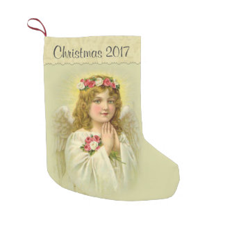 Personalize Beautiful Angel with Roses Small Christmas Stocking