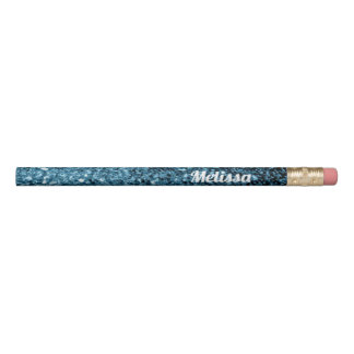 Personalize Beautiful Baby blue glitter sparkles Pencil