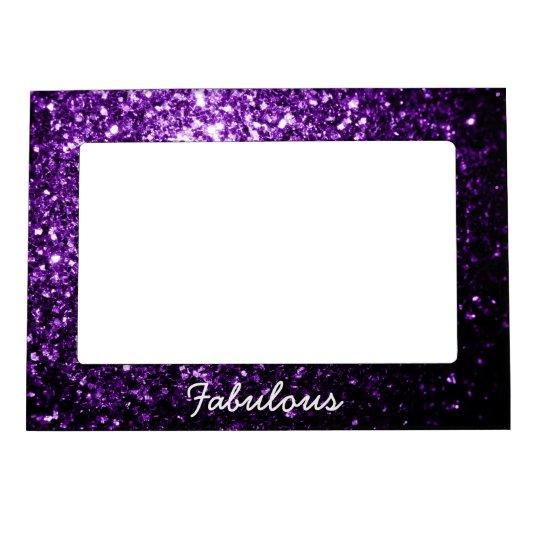 Personalize Beautiful Dark Purple glitter sparkles Magnetic Picture Frame