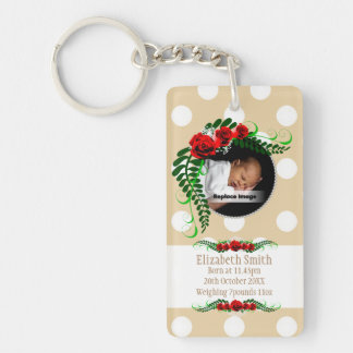 Personalize Beige Baby Girl Memento Roses Pearls Single-Sided Rectangular Acrylic Keychain