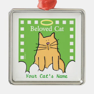 Personalize Beloved Cat Memorial Silver-Colored Square Ornament