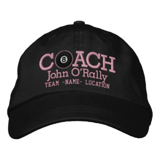 Personalize Billiards Coach Cap Your Name n Game! Embroidered Hats