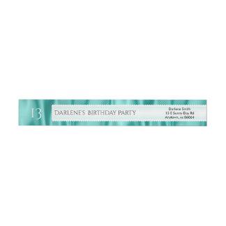 Personalize Birthday Aqua Faux Satin Luxury Fabric Wraparound Return Address Label