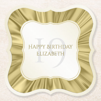 Personalize  Birthday  Faux gold Satin Bracket Paper Coaster