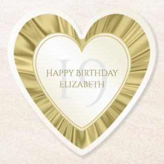 Personalize  Birthday  Faux Gold Satin Heart Paper Coaster