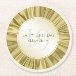 Personalize  Birthday  Faux gold Satin Round Round Paper Coaster