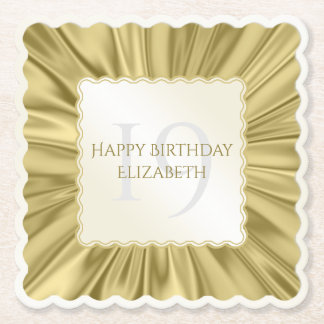 Personalize  Birthday  Faux gold Satin Scalloped Paper Coaster