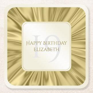 Personalize  Birthday  Faux gold Satin Square Square Paper Coaster