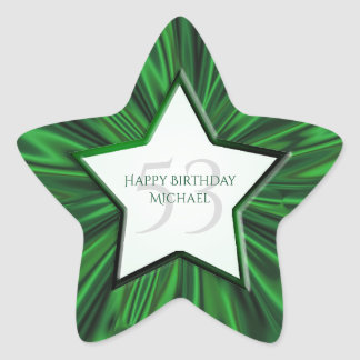Personalize  Birthday  Faux Gold Satin Star Star Sticker