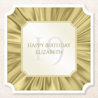 Personalize  Birthday  Faux gold Satin Ticket Paper Coaster