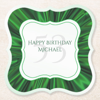 Personalize  Birthday  Faux Green Satin Bracket Paper Coaster