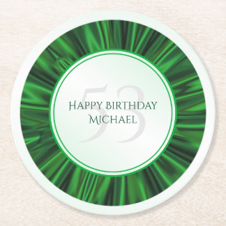 Personalize  Birthday  Faux Green Satin Round Round Paper Coaster