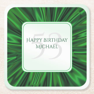 Personalize  Birthday  Faux Green Satin Square Square Paper Coaster
