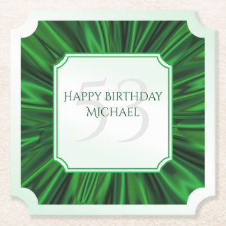 Personalize  Birthday  Faux Green Satin Ticket Paper Coaster