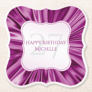 Personalize  Birthday  Faux Orchid Satin Bracket Paper Coaster