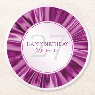 Personalize  Birthday  Faux Orchid Satin Round Round Paper Coaster