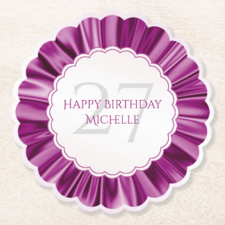 Personalize  Birthday  Faux Orchid Satin Scalloped Paper Coaster