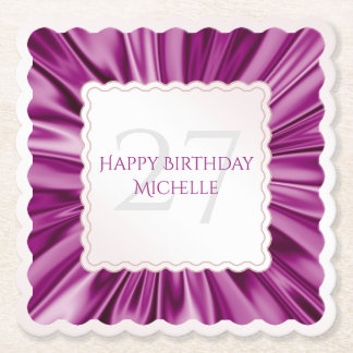Personalize  Birthday  Faux Orchid Satin scallops Paper Coaster