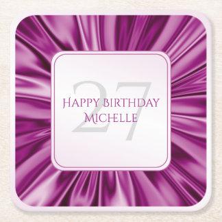 Personalize  Birthday  Faux Orchid Satin Square Square Paper Coaster