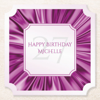 Personalize  Birthday  Faux Orchid Satin Ticket Paper Coaster
