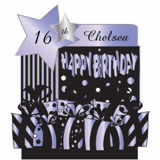 Personalize Birthday Girl in Elegant Purple Photo Cutout