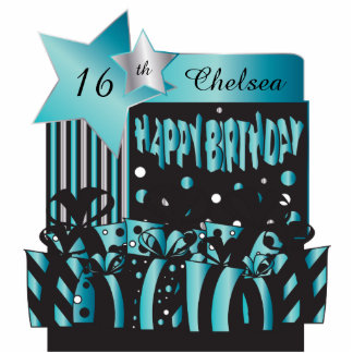 Personalize Birthday Girl in Elegant Turquoise Standing Photo Sculpture