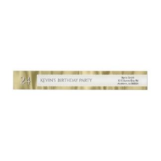 Personalize Birthday Gold Faux Satin Luxury Fabric Wraparound Return Address Label