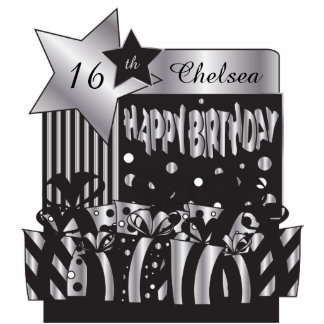 Personalize Birthday in Elegant Silver and Black Photo Sculptures