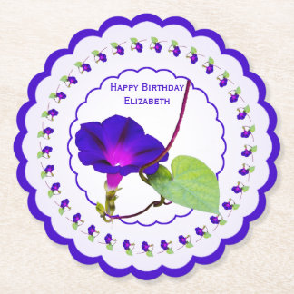 Personalize:  Birthday Purple Morning Glory Pics Paper Coaster